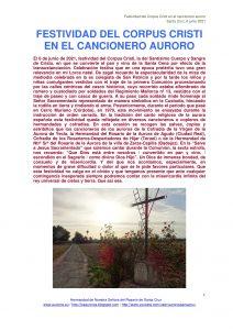 FESTIVIDAD DEL CORPUS CRISTI EN EL CANCIONERO AURORO