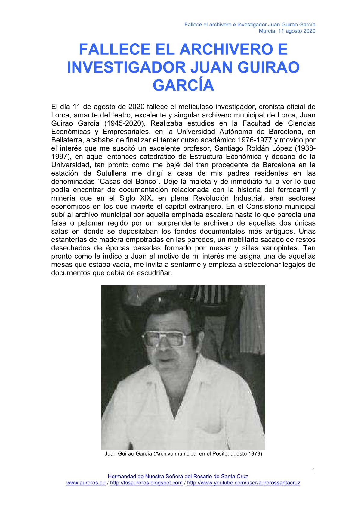FALLECE EL ARCHIVERO E INVESTIGADOR JUAN GUIRAO GARCÍA