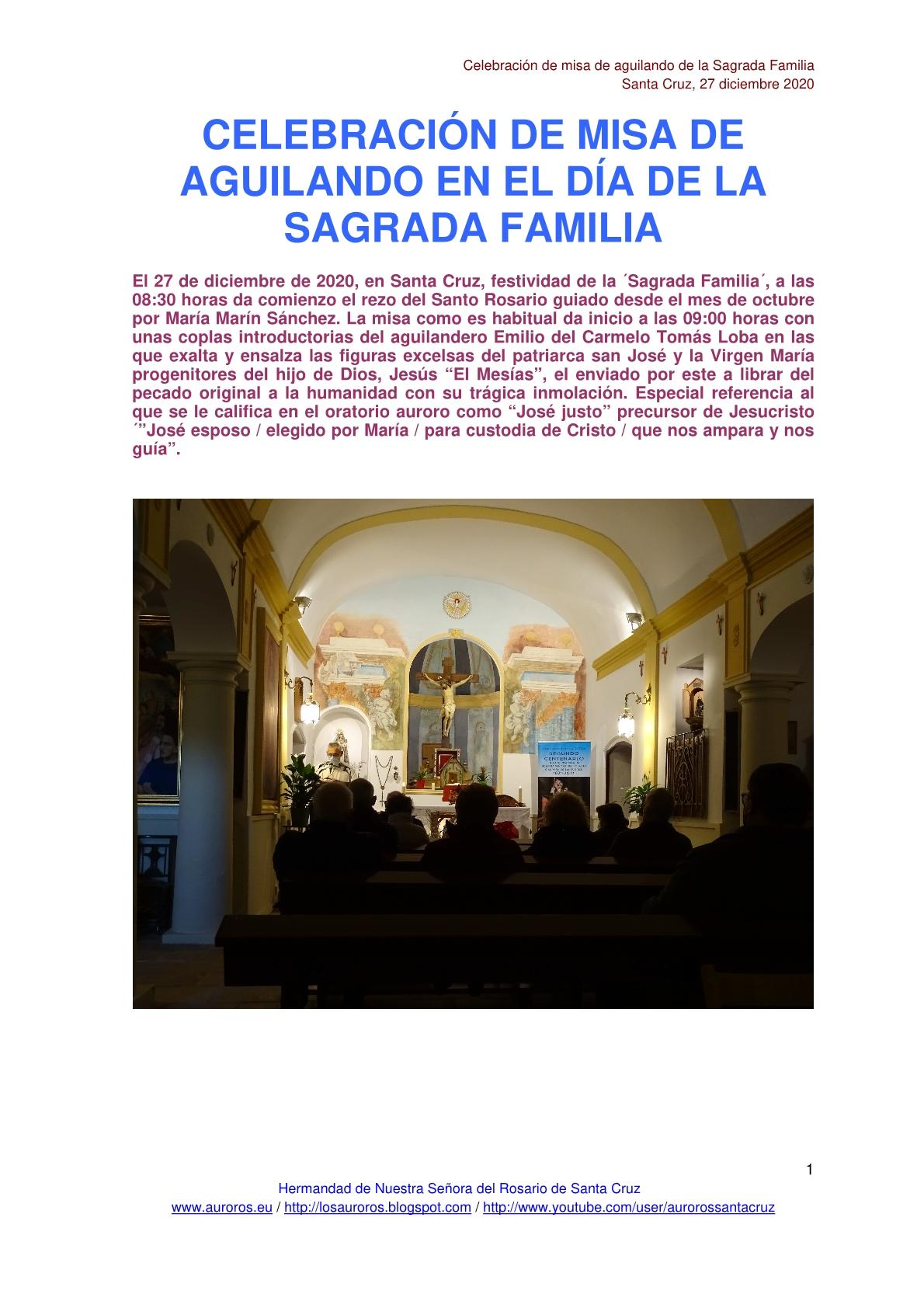 MISA DE AGUILANDO EN LA FESTIVIDAD DE LA SAGRADA FAMILIA