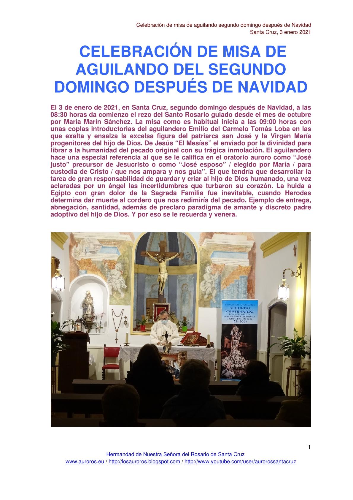 CELEBRACIÓN DE MISA DE AGUILANDO DEL SEGUNDO DOMINGO DESPUÉS DE NAVIDAD