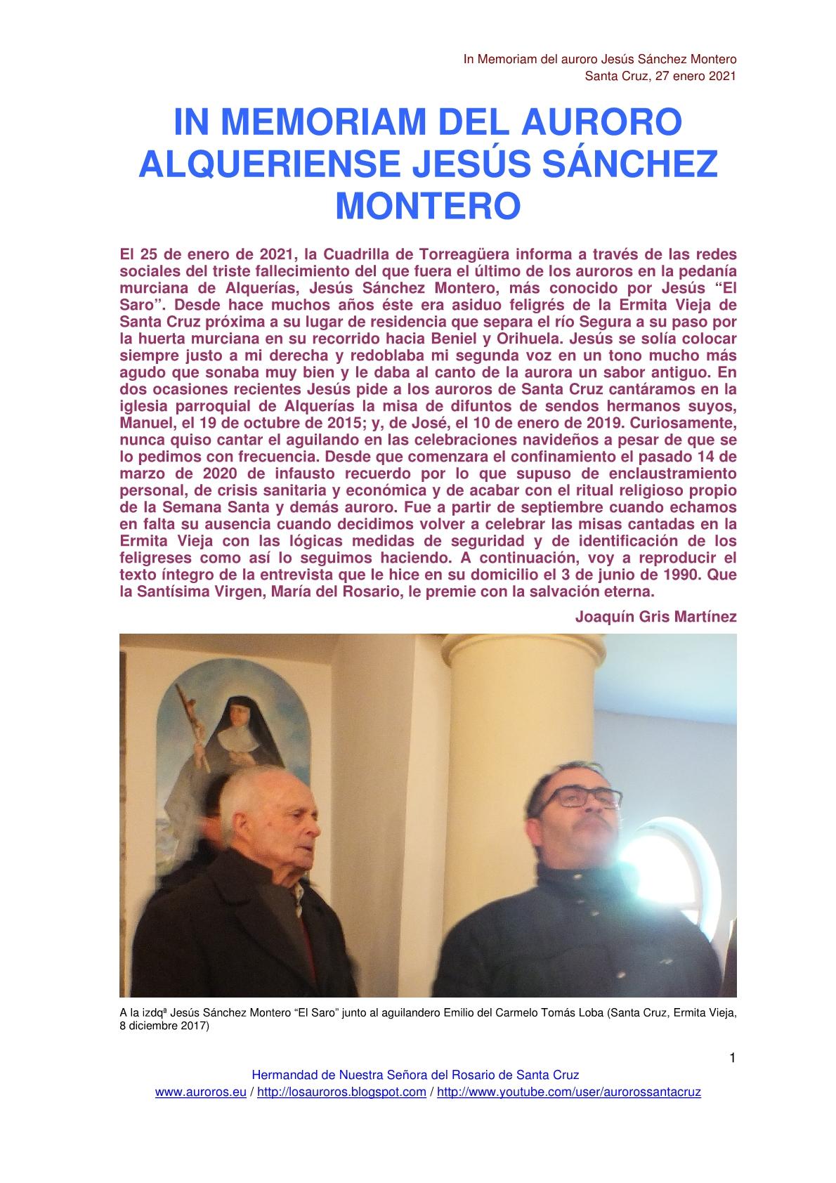 IN MEMORIAM DEL AURORO ALQUERIENSE JESÚS SÁNCHEZ MONTERO