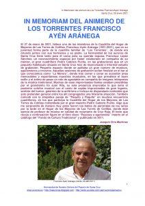 IN MEMORIAM DEL ANIMERO DE LOS TORRENTES FRANCISCO AYÉN ARÁNEGA