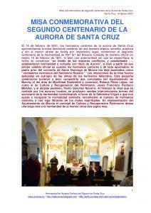 MISA CONMEMORATIVA DEL SEGUNDO CENTENARIO DE LA AURORA DE SANTA CRUZ