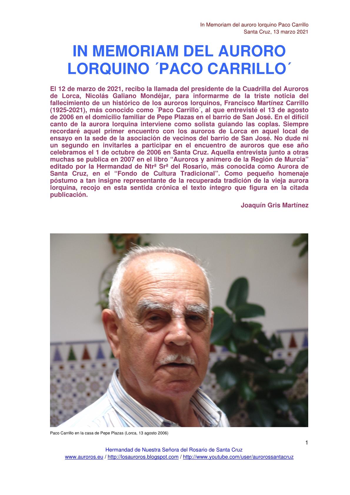 "IN MEMORIAM DEL AURORO LORQUINO ""PACO CARRILLO"""