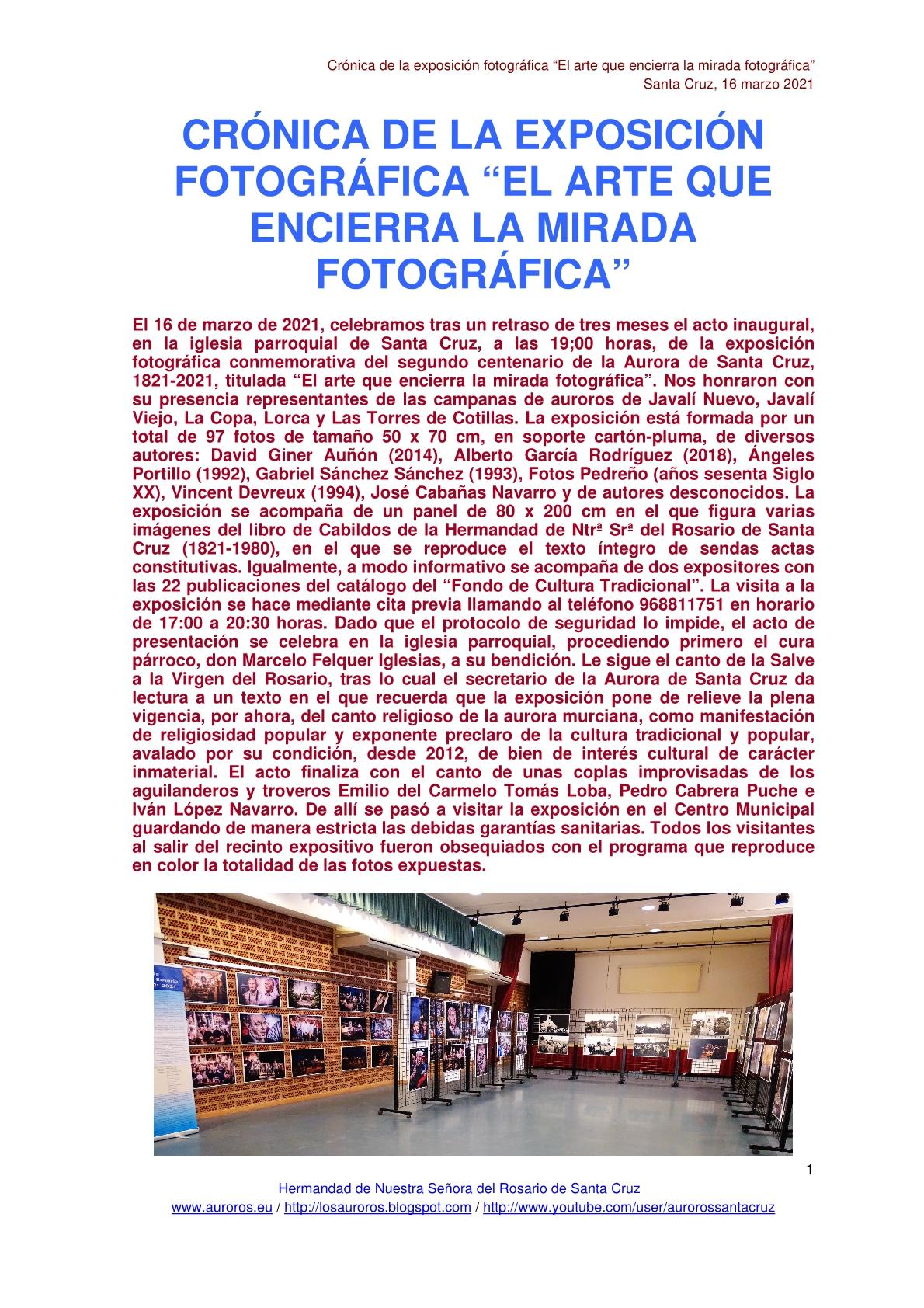 """CRÓNICA DE LA EXPOSICIÓN FOTOGRÁFICA """"EL ARTE QUE ENCIERRA LA MIRADA FOTOGRÁFICA"""""""