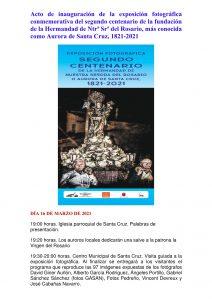 INAUGURACIÓN DE LA EXPOSICIÓN FOTOGRÁFICA DEL SEGUNDO CENTENARIO DE LA AURORA DE SANTA CRUZ