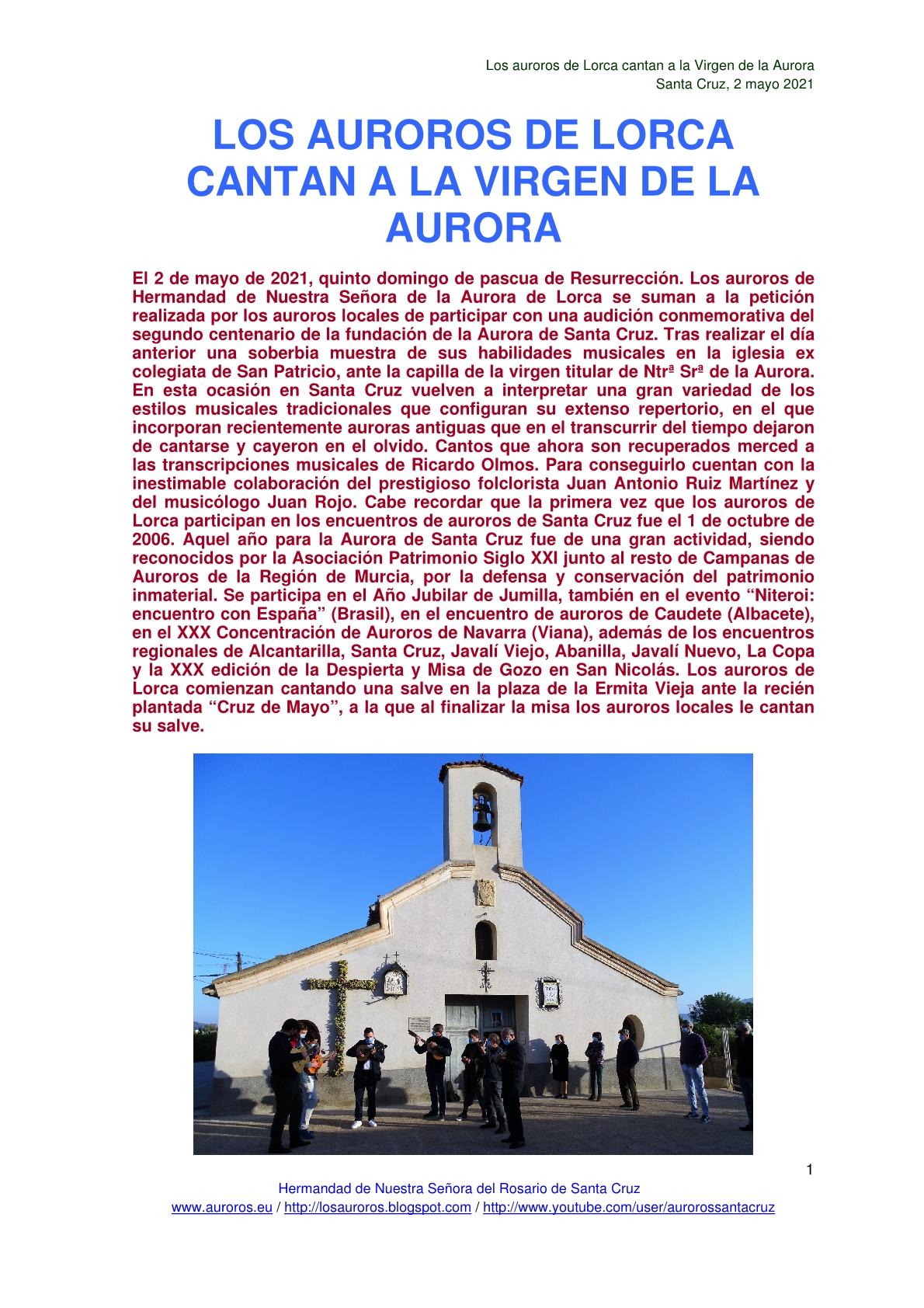 LOS AUROROS DE LORCA CANTAN A LA VIRGEN DE LA AURORA